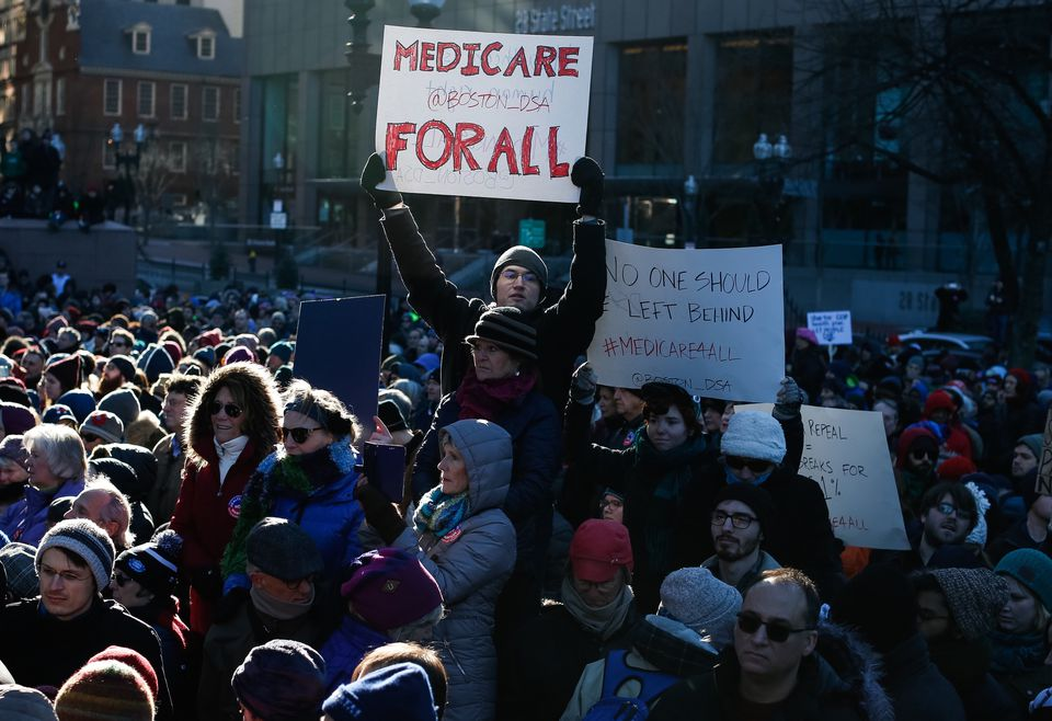 People participated in rally to denounce plans to revoke the Affordable Care Act.