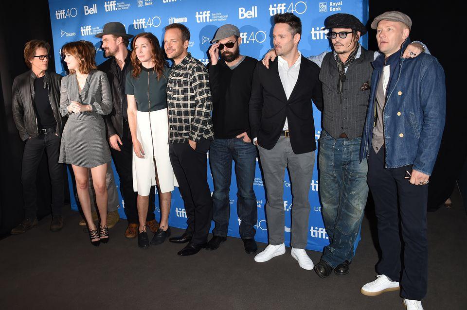 "Kevin Bacon, Dakota Johnson, David Harbour, Julianne Nicholson, Peter Sarsgaard, Rory Cochrane, Scott Cooper, Johnny Depp, and Joel Edgerton attended the ""Black Mass"" press conference at the Toronto International Film Festival."