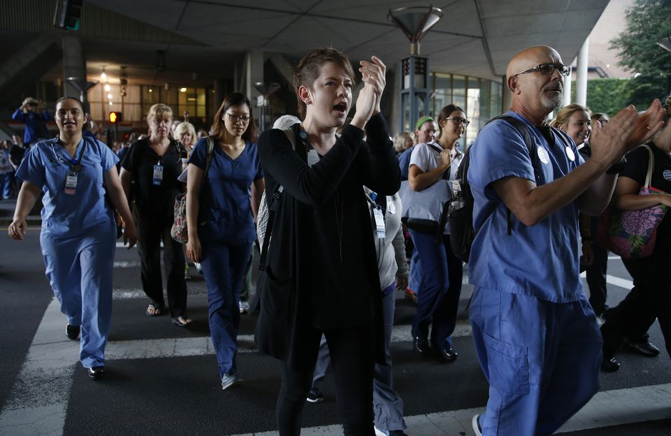 Nurses at Tufts Medical Center cheered as they headed back to work last year after a one day strike followed by a lockout.