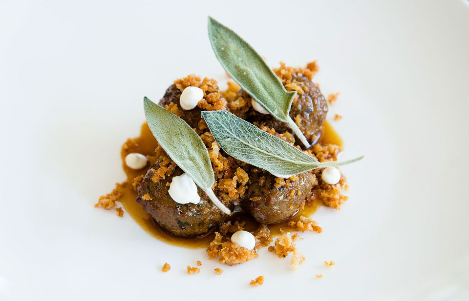 A current Speidel creation at Persimmon, lamb polpette with parsnip puree and yogurt.
