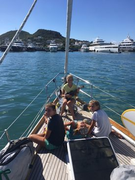 The Crosby family has been sailing on a Bristol ketch named Yankee Lady.