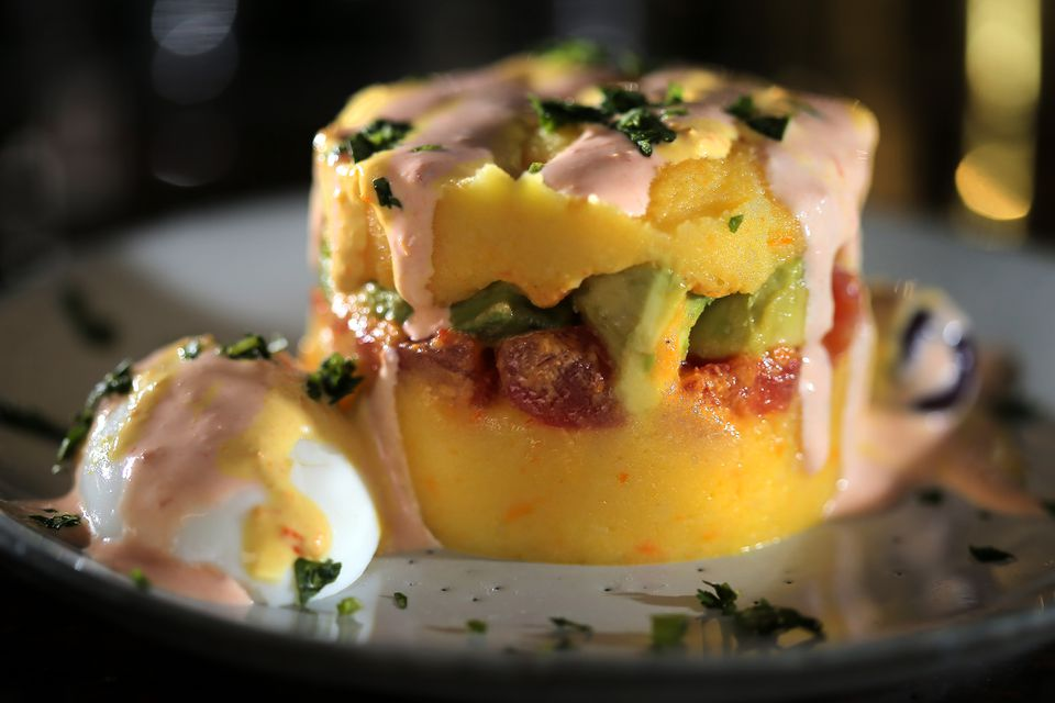 Chef of the year JuanMa Calderón's spicy potato terrine — causa de avocado and tomato — at Celeste.