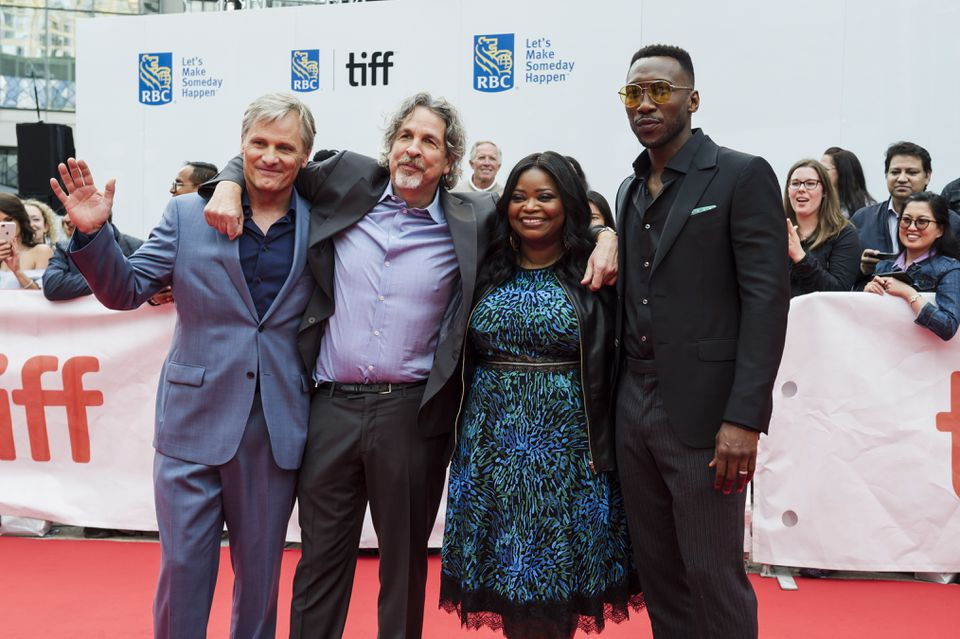 "From left: Viggo Mortensen, director Peter Farrelly, Octavia Spencer, and Mahershala Ali before the screening of ""Green Book"" at the Toronto International Film Festival."