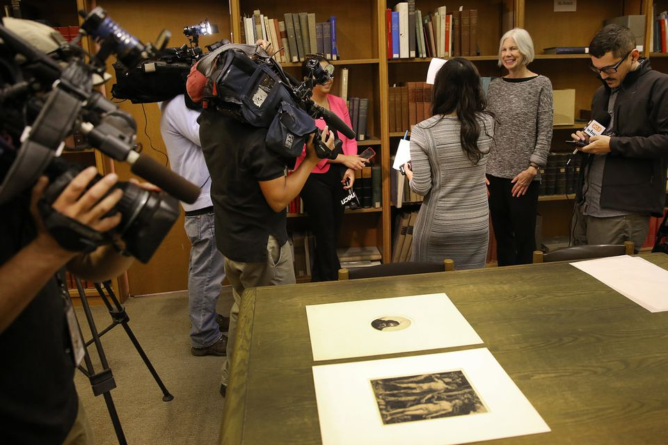 Boston Public Library president Amy Ryan (right) spoke to the media after the discovery of the Dürer and Rembrandt prints