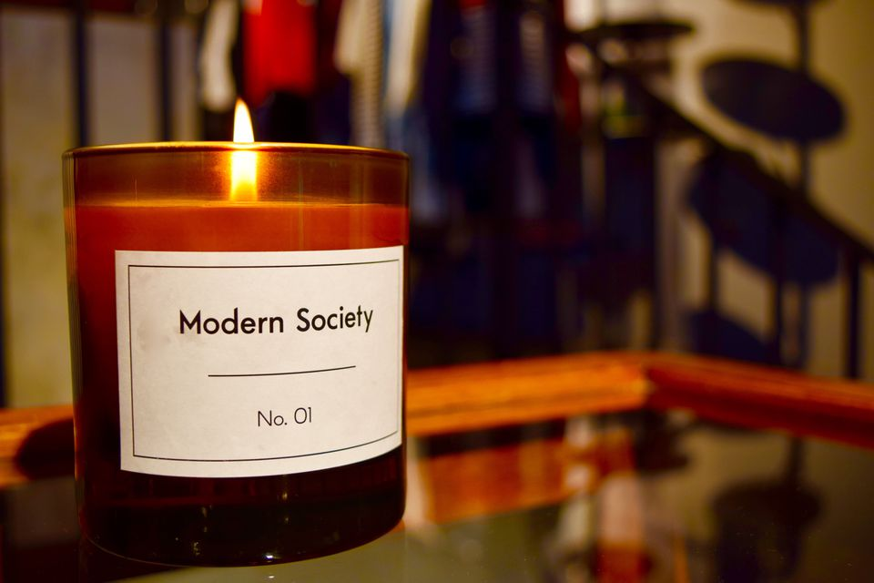 A candle at the store Modern Society in the Redchurch shopping district of London.