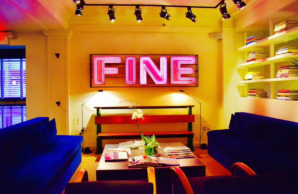Neon is plentiful at the Dean in Providence, in the in-house artisanal cafe Bolt .
