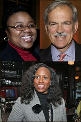 Clockwise from top left: Marie St. Fleur, Paul Grogan, and Ayanna Pressley.