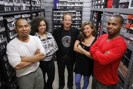 The staff of the Sneaker Museum (from left): director Jason Sinatra, social media and blog manager Sandra Manzanares, collector Rick Kosow, creative director and curator Olivia Ives-Flores, and director of operations Marcus Johnson-Smith surrounded by some of Kosow's 1,000 sneakers.