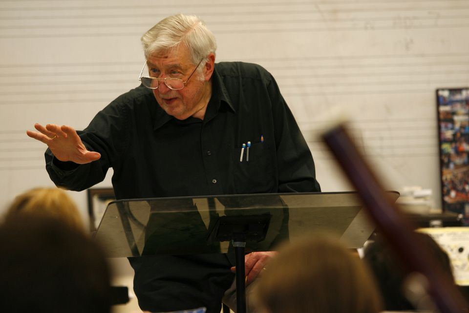 Mr. Schuller, shown conducting the Lexington High School wind ensemble as it practiced a piece he composed, led New England Conservatory from 1967-77.