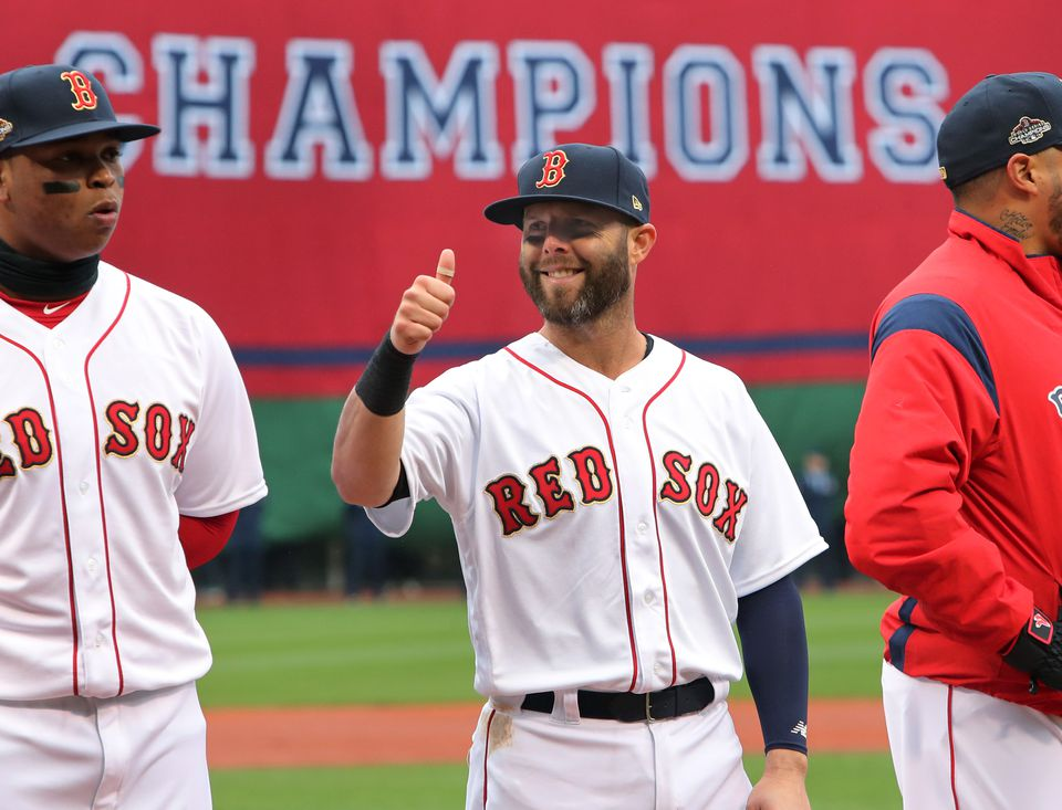 Dustin Pedroia gives a thumbs up as he is introduced in the starting lineup on Tuesday.