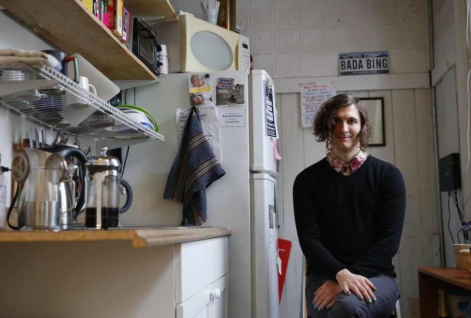 Transgender activist Evan Greer poses for a portrait in her workspace in Boston.