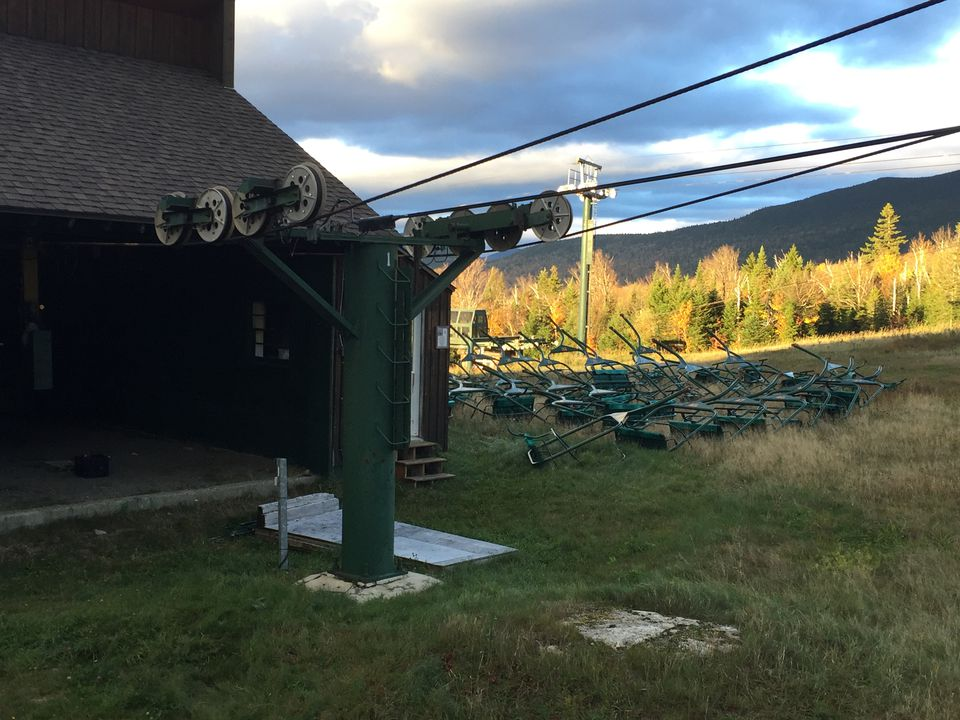 A vacant chairlift at Saddleback Mountain.