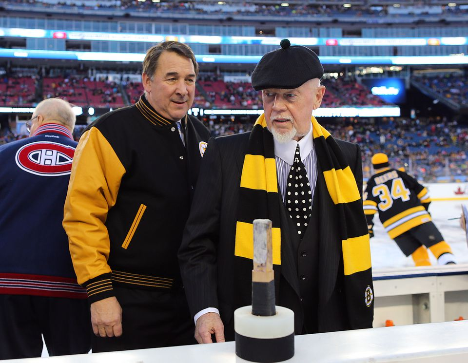 Former Bruins coach Don Cherry, right, seen at the 2015 Bruins vs. Canadiens Alumni Game, will be honored by the Sports Museum's Tradition gala on Nov. 28.