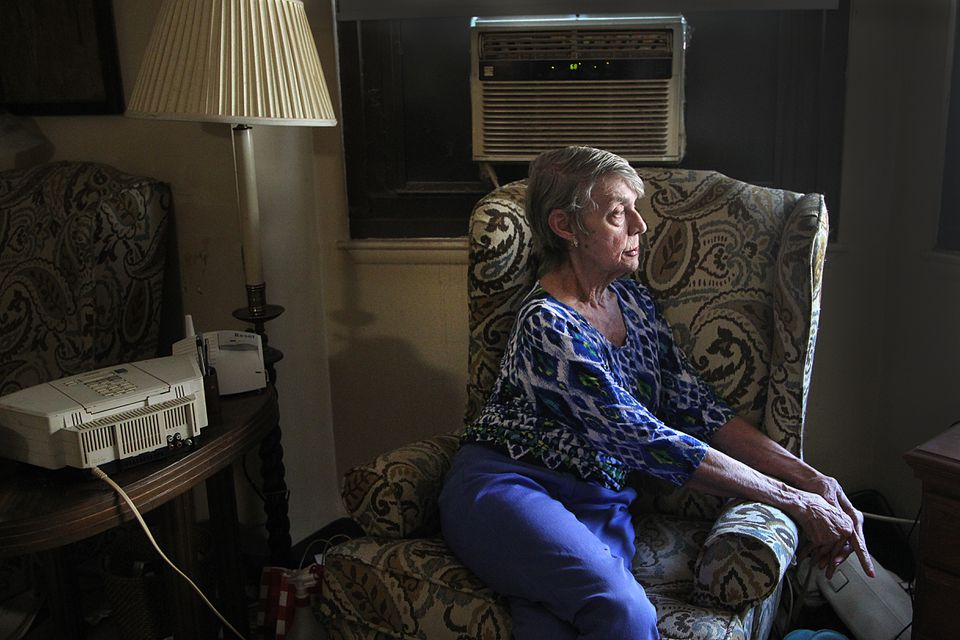 Former flight attendant and library worker Judi Gorsuch in her home in public housing near the Prudential Center. After rent and groceries, she has little left each month.