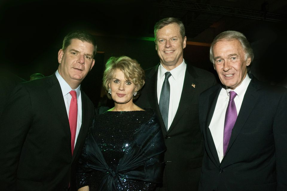 More than 1,200 guests attended the American Ireland Fund gala at the Westin Boston Waterfront Hotel, where Bank of America's Anne Finucane was honored. From left: Mayor Marty Walsh, Finucane, Governor Charlie Baker, and US Senator Ed Markey.
