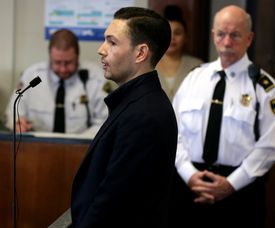 The trial of Bryon Hefner, who appeared Tuesday in court for his arraignment, has been set for the spring of 2019.