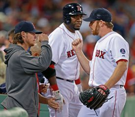 "Clay Buchholz (left) likes to refer to David Ortiz (center) as ""Cooperstown,"" but that's a secondary nickname at best."