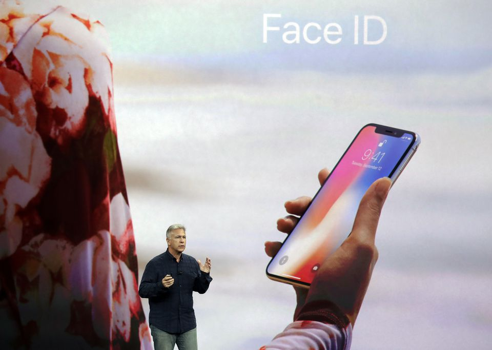Phil Schiller, Apple's senior vice president of worldwide marketing, announces features of the new iPhone X, including the new Face ID facial recognition system.