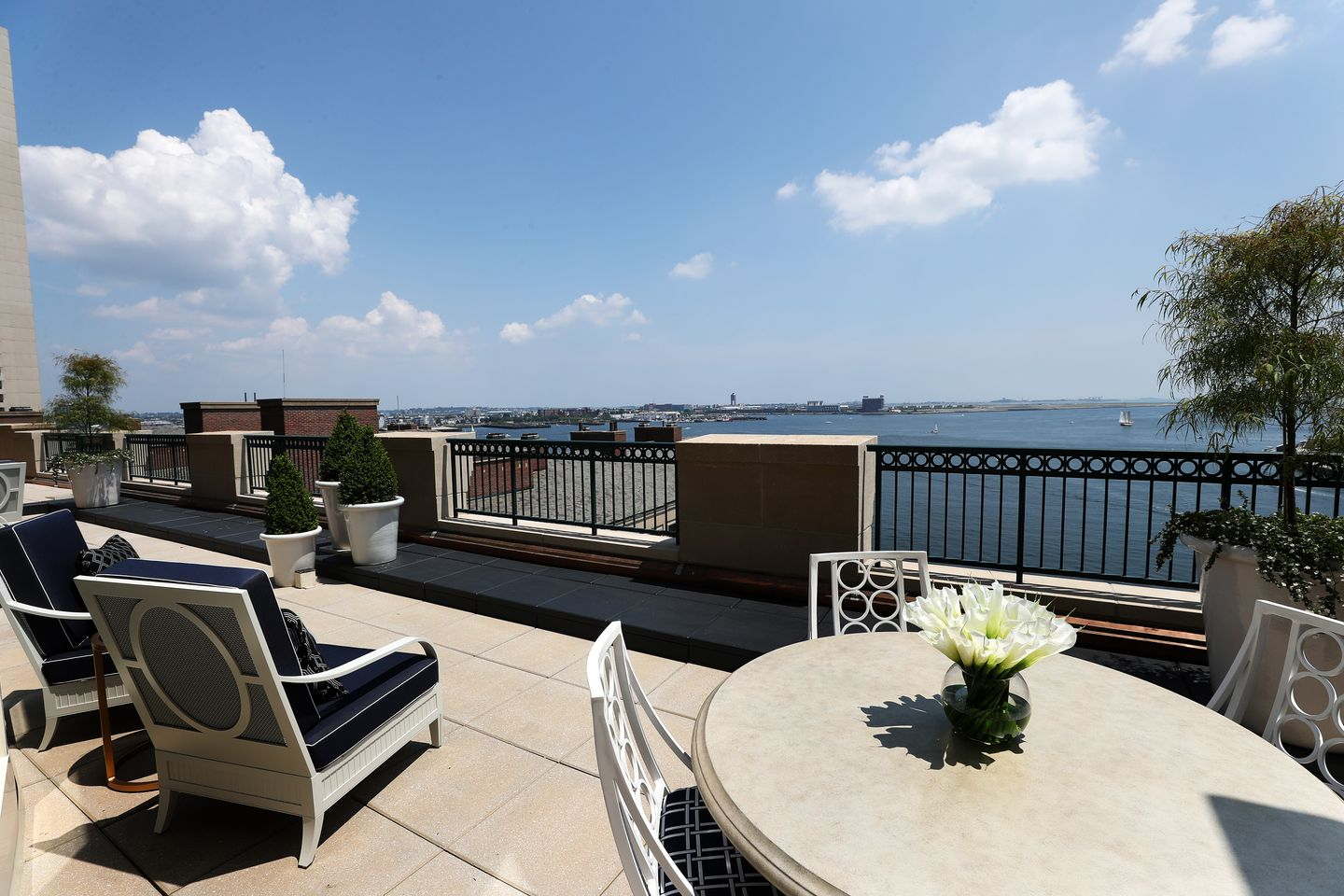The terrace and view of Boston Harbor.