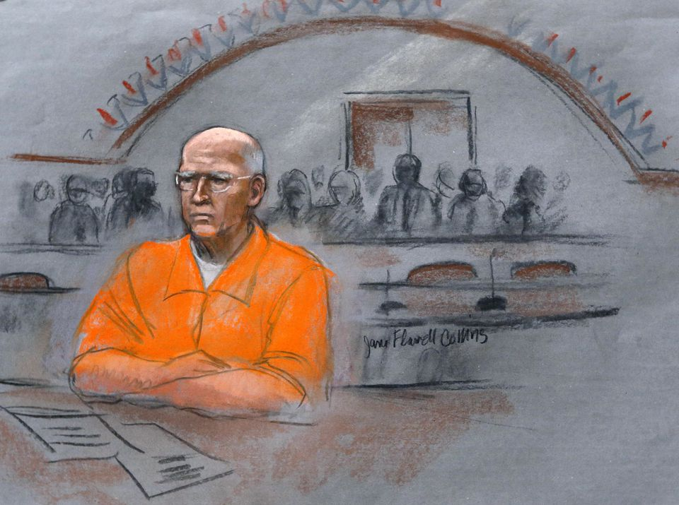 """In this Nov. 13, 2013, file courtroom sketch, James """"Whitey"""" Bulger sits at his sentencing hearing in federal court in Boston."""