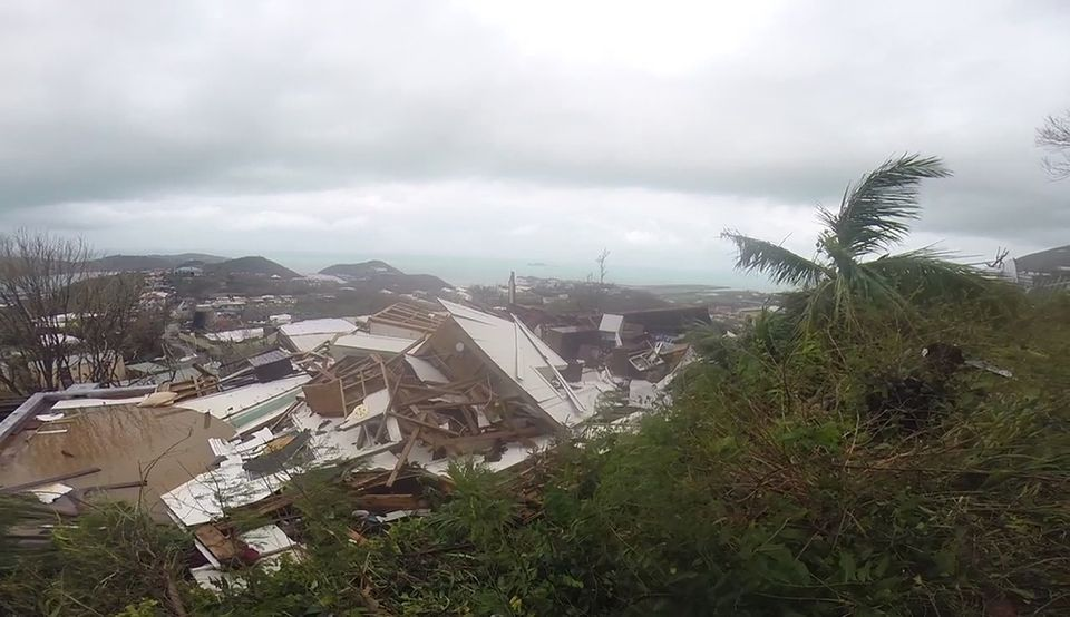 Several damaged houses in St. Thomas, US Virgin Islands, on Thursday.