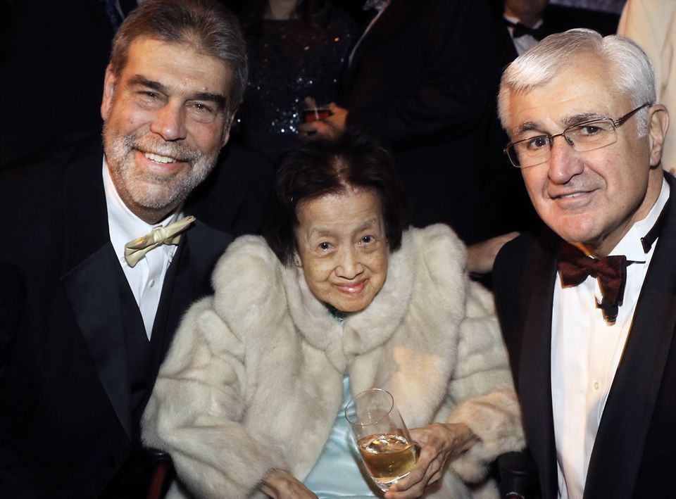 Lorraine Wang (center) attended the gala marking the 90th anniversary of the Wang Theatre in December. She was joined by Citi Performing Arts Center and Wang Theatre chief executive Josh Spaulding (left) and board chairman Paul Guzzi.