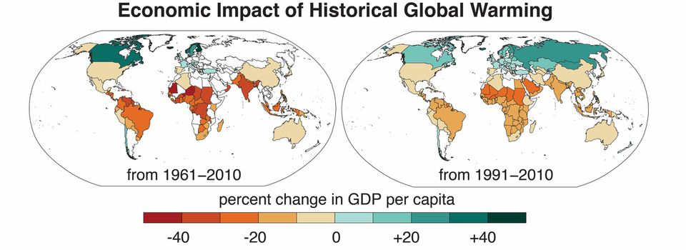 The map shows changes in GDP per capita by country, with increases in cooler countries and decreases in warmer countries, from 1961 to 2010 (left) and 1991-2010 (right).