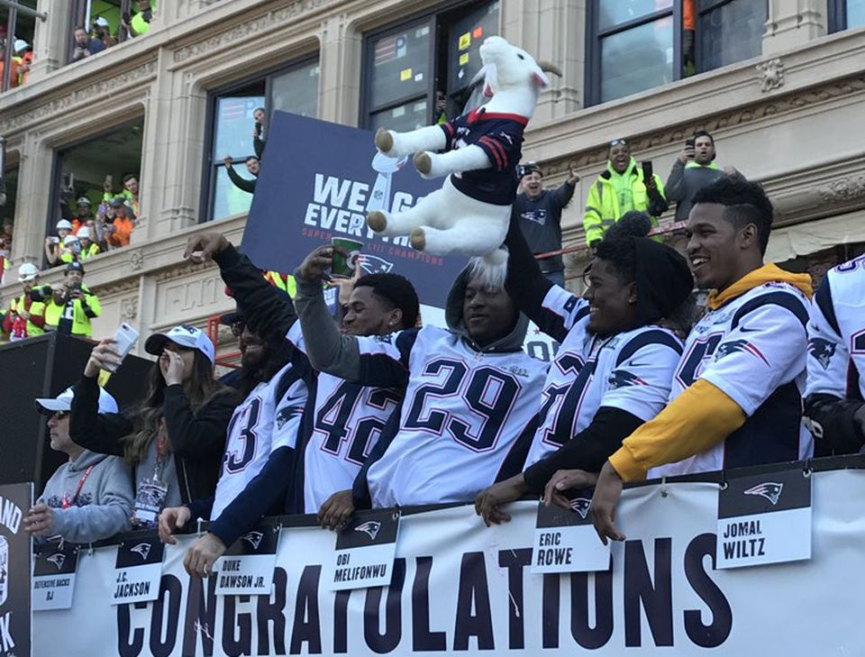 "Patriots players passed around a stuffed goat tossed to them by Michael Brody and his wife, Sheri. Later the plush toy, named ""Brady,"" went missing."
