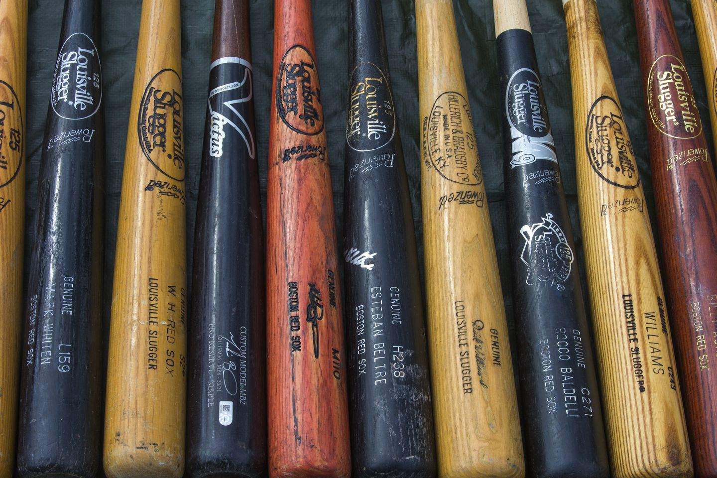 Boujoukos's collection includes bats of all sizes and colors.