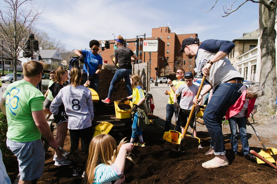 Volunteers pitch in at the Martin Richard Foundation's service day last year.