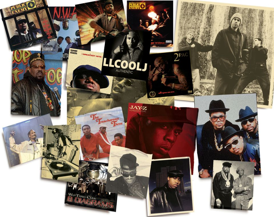 From top left, clockwise: Public Enemy, NWA, Pete Rock, Public Enemy, The Beastie Boys, Run-D.M.C., Eric B. and Rakim, Nas, Dr. Dre, Wu-Tang Clan, Grandmaster Flash, Snoop Dogg, Afrika Bambaataa. Inside group, from top left, clockwise: Notorious B.I.G., LL Cool J, 2Pac, Jay-Z, The Treacherous Three.