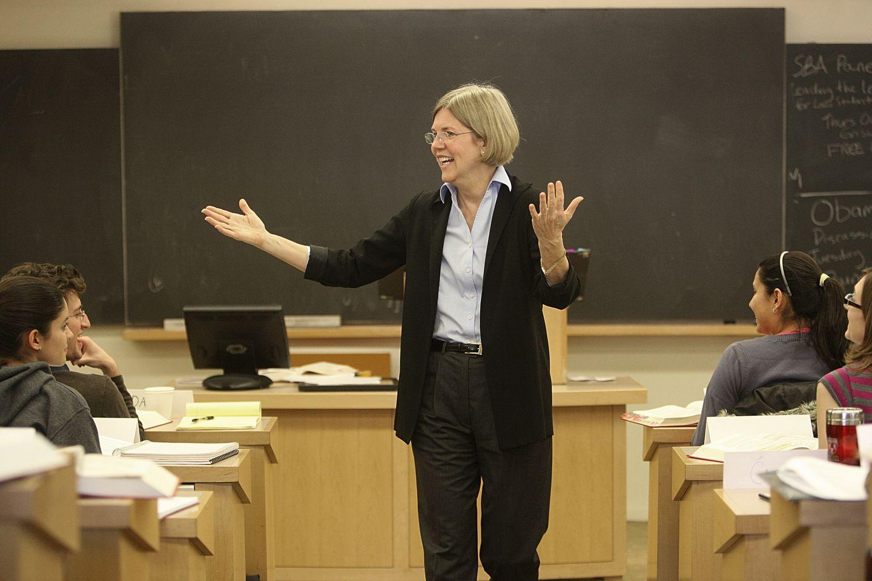 Warren at Harvard Law in 2009.