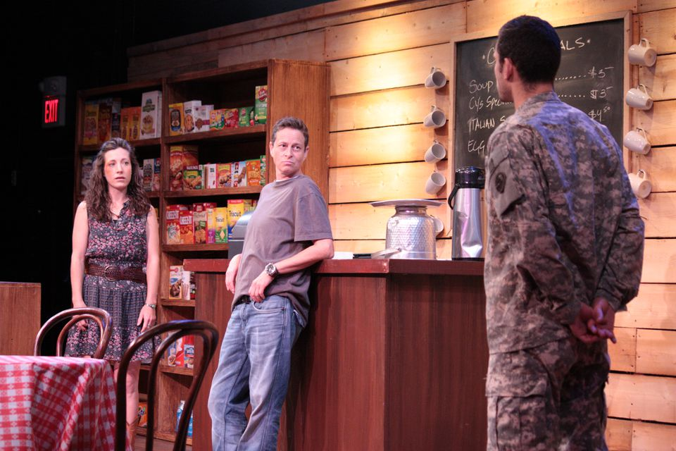 "From left: Jessica Webb, Mal Malme, and Ian Michaels in Ginger Lazarus's ""Burning"" at Boston Playwrights' Theatre."