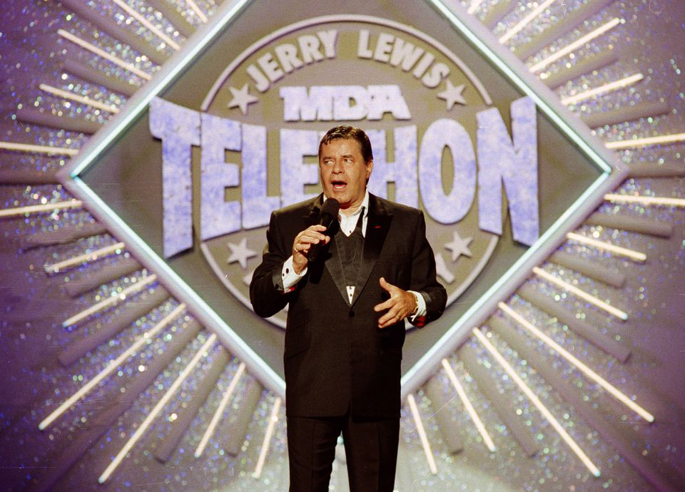 Jerry Lewis made his opening remarks at the 25th Anniversary of the Jerry Lewis MDA Labor Day Telethon fundraiser, in this 1990 photo.