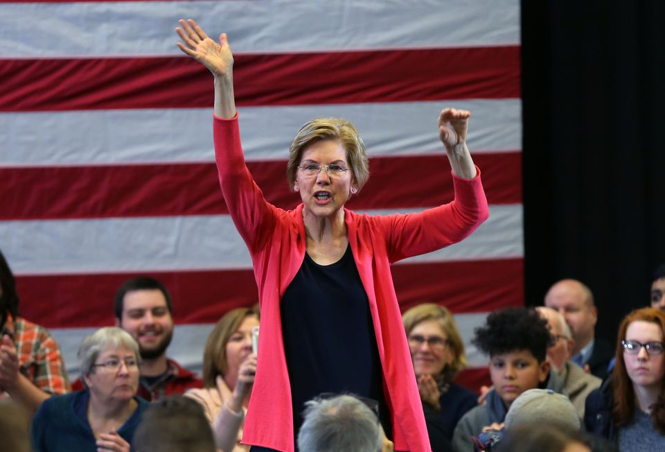 Warren spoke during a rally at Manchester Community College in Manchester, N.H.