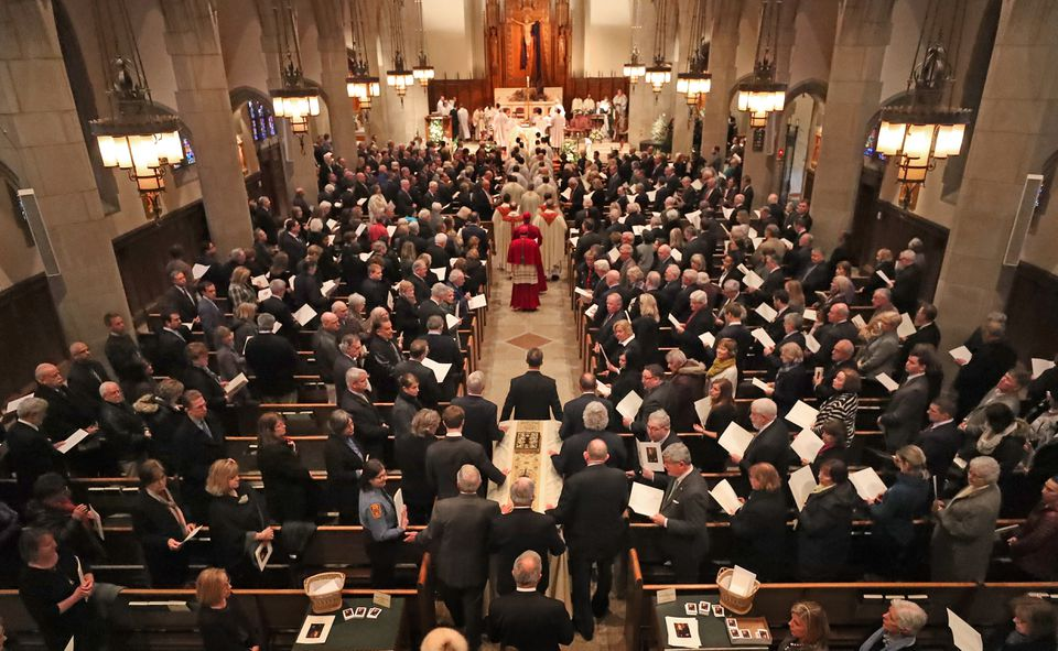 Boston College's longest-serving president, the Rev. J. Donald Monan, was remembered in a funeral Mass on Wednesday.