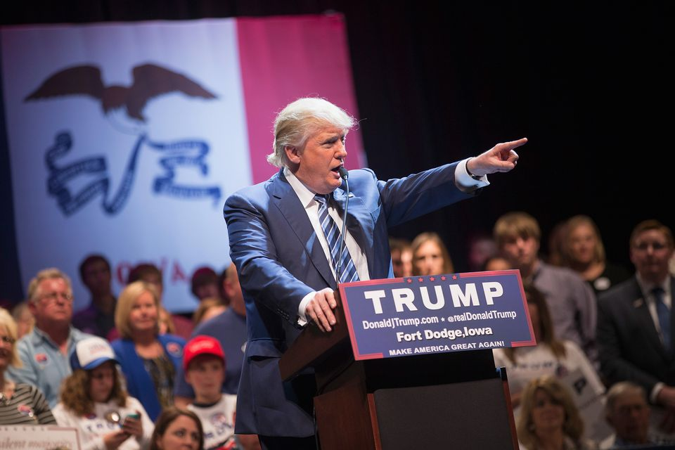 Republican presidential candidate Donald Trump spoke for more than an hour and a half Thursday night during a campaign stop at Iowa Central Community College.