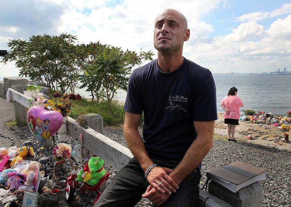 Joseph Amoroso visited his daughter's memorial on Deer Island.