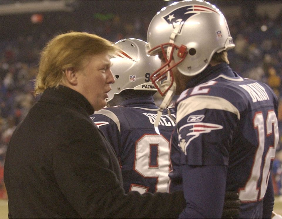 Donald Trump (left) spoke with Tom Brady before a 2004 game at Gillette Stadium