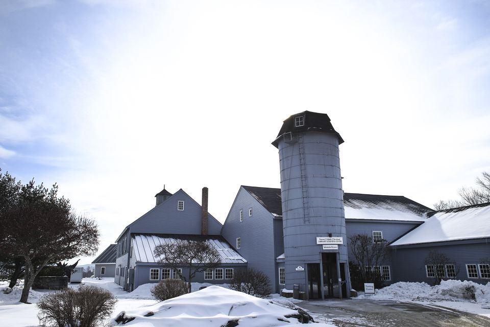The Susan Colgate Cleveland Library, a repurposed barn and silo, at Colby-Sawyer College in New London, N.H.