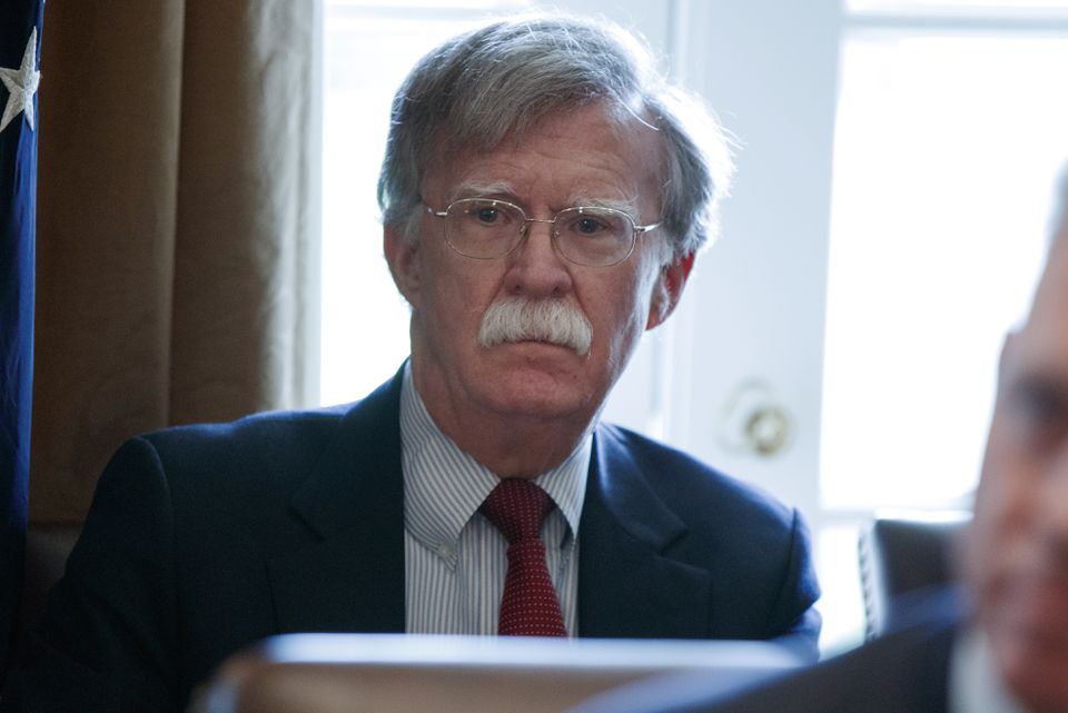 National security adviser John Bolton listened Monday as President Trump spoke during a Cabinet meeting.