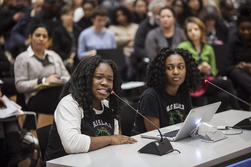 Meggie Noel (left) and Kylie Webster-Cazeau appear before the Boston School Committee in January to discuss the racial climate at Boston Latin.