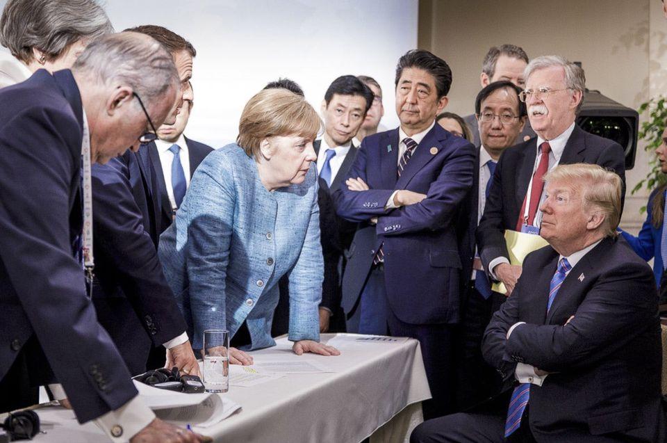 Angela Merkel spoke with President Trump during last week's Group of Seven summit.