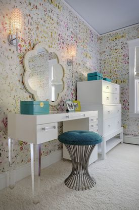In Jamaica Plain, a custom desk-vanity combo has enough drawers for makeup and school materials.