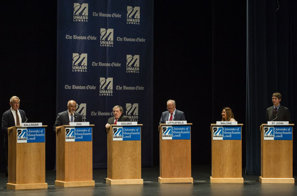 From left, Jeff Ballinger, Beej Das , Leonard Golder, Patrick Littlefield, Bopha Malone, and Keith St. John participated in a debate among Democratic candidates in Lowell in April. Ten Democrats and one Republican are running.