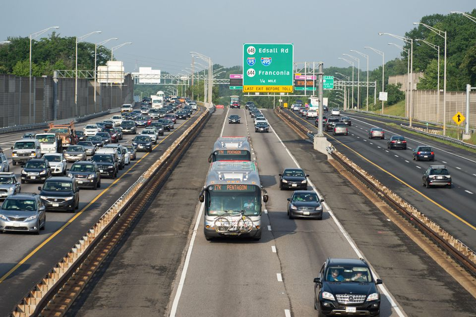 Northern Virginia express lanes charge single-occupant vehicles higher tolls during rush hour while allowing buses and higher-occupancy cars to travel free.