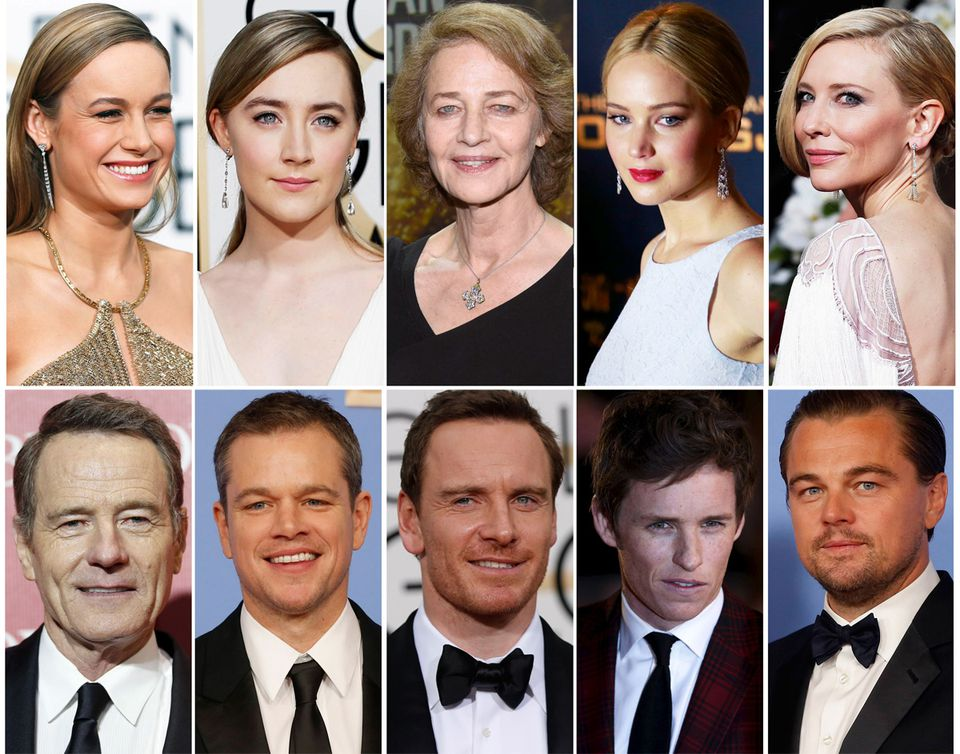 The nomination field for the 88th Academy Awards has been criticized for a lack of diversity. Pictured (top, left to right) are best actress nominees Brie Larson, Saoirse Ronan, Charlotte Rampling, Jennifer Lawrence, and Cate Blanchett; and (bottom, left to right) best actor nominees Bryan Cranston, Matt Damon, Michael Fassbender, Eddie Redmayne, and Leonardo DiCaprio.