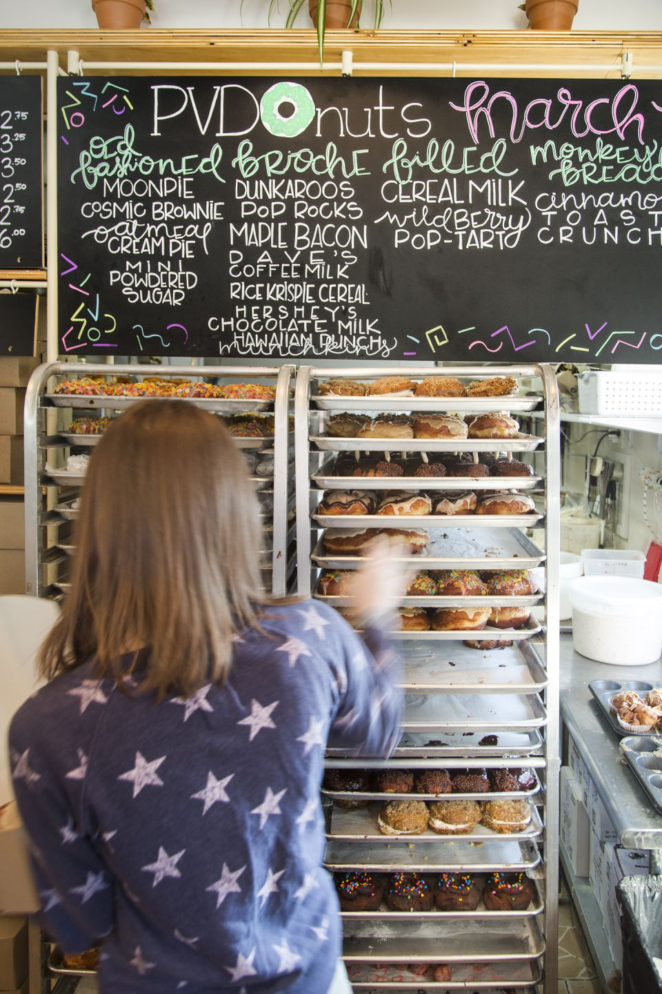 For sheer creativity, it's hard to beat PVDonuts, where trays of fresh doughnuts are laden with sweet creations like Pop Rocks and Rice Krispie Cereal.