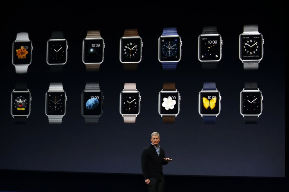 Apple CEO Tim Cook showed the Apple Watch collection in San Francisco Monday.