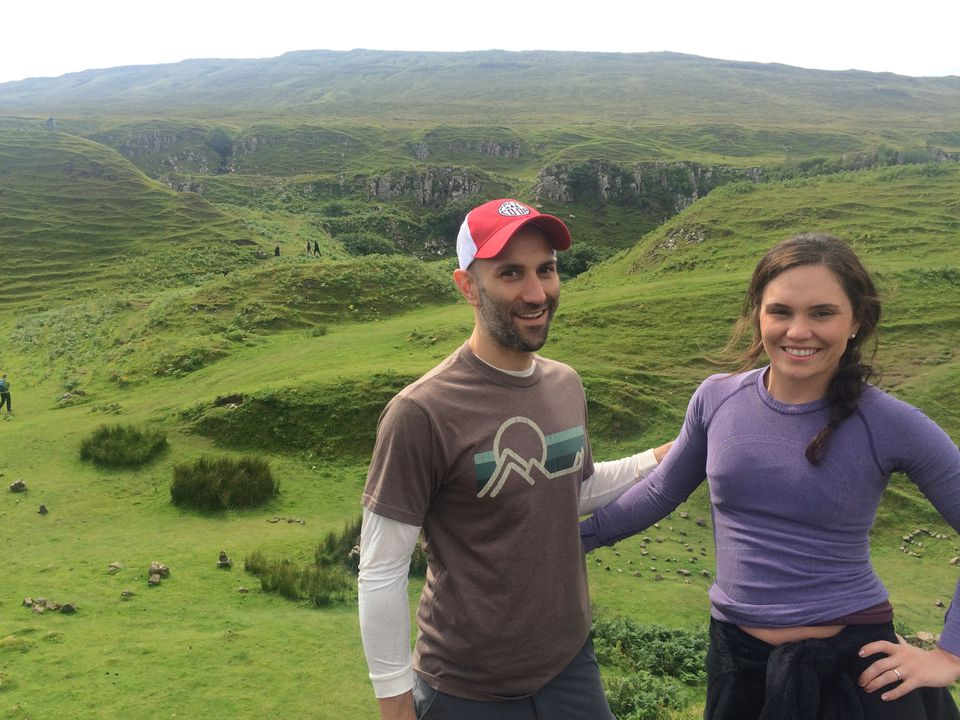 Peter DeMarco and Laura Levis, hiking the Scottish Highlands in 2015.